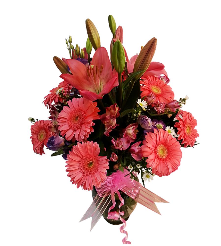 Arreglo floral de gerberas y lilis