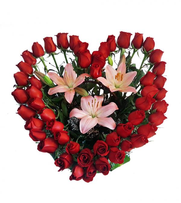 Rosas rojas a domicilio en corazón