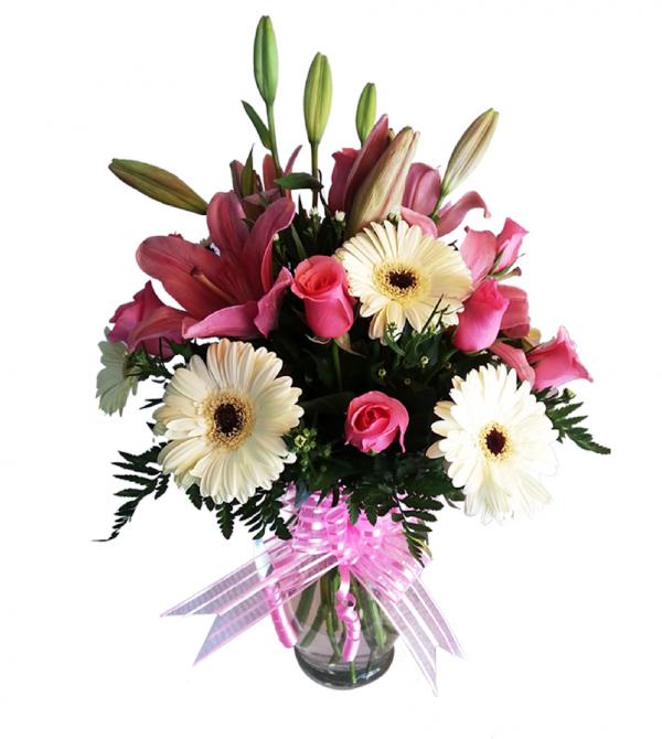Arreglos de flores mixtas en florero