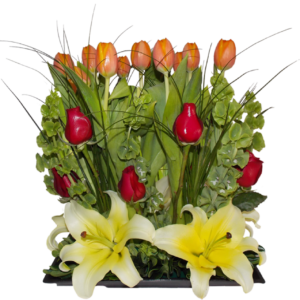 Arreglo de tulipanes naranjas