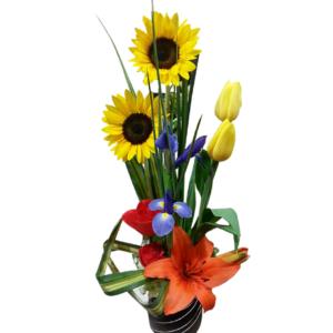 Arreglo de flores mixtas base de cerámica