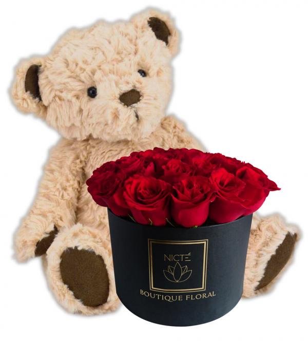 Combo caja de rosas rojas y osito