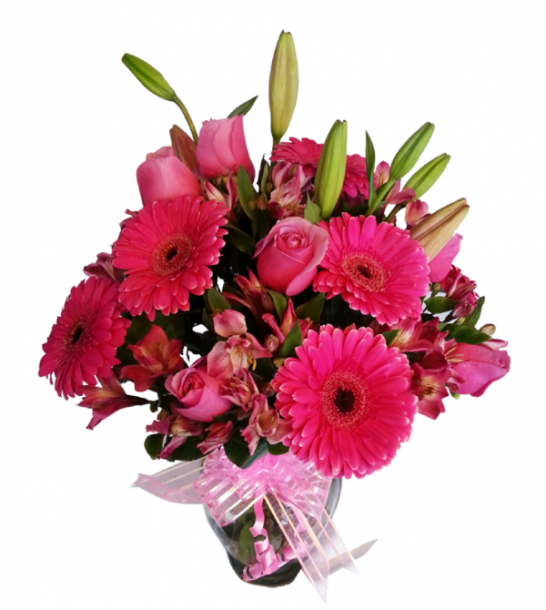 Florero de flores naturales rosas