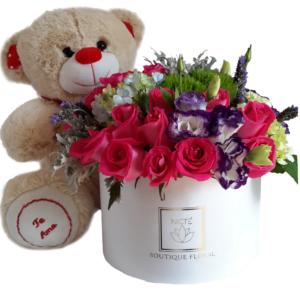 Combo caja de rosas con osito