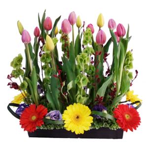 Arreglo floral mixto de tulipanes y lisianthus
