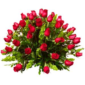 Canasta con 100 rosas rojas