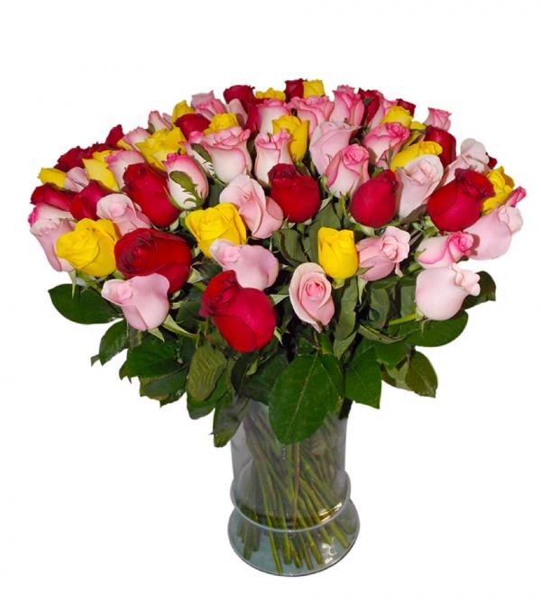 Jarrón con 100 rosas multicolores