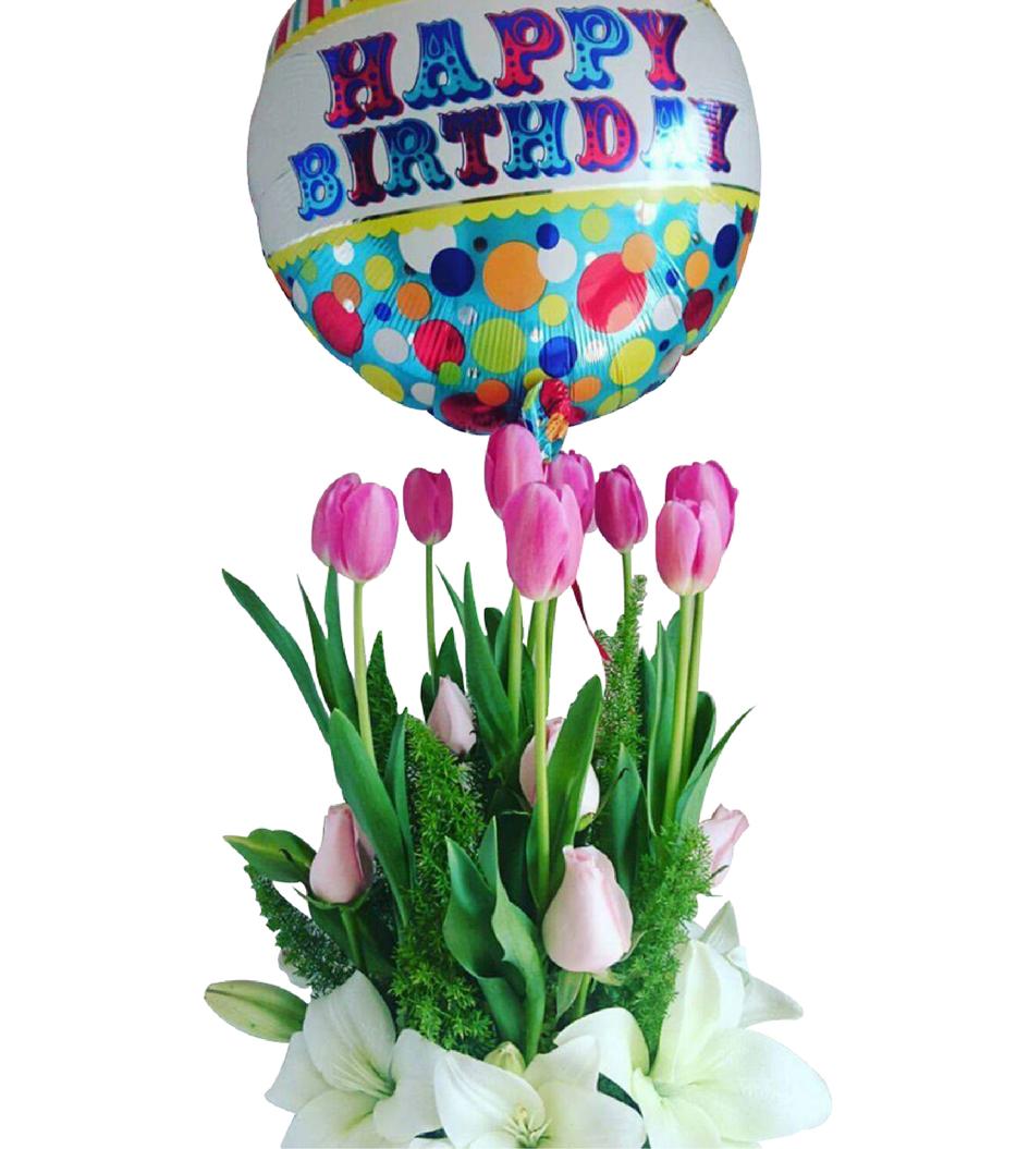 Arreglo De Tulipanes Rosas Y Lilis Con Globo