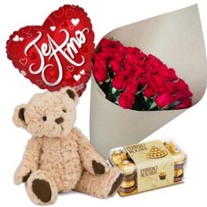 Combo de rosas, chocolates y osito