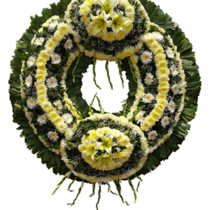 Corona fúnebre con pompones