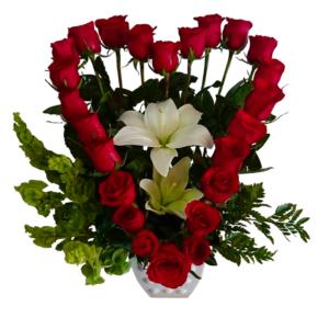 24 rosas en forma de corazón