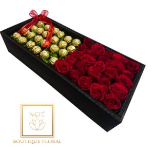 Caja con rosas y chocolates 48 piezas