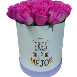 Caja de flores redonda «Eres la mejor»