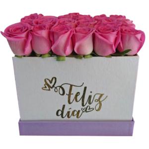 Caja de flores grande «feliz día»