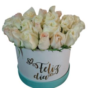 Caja de flores tapa verde «Feliz Día»