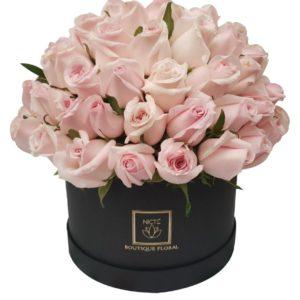 Caja de rosas rosadas luxury