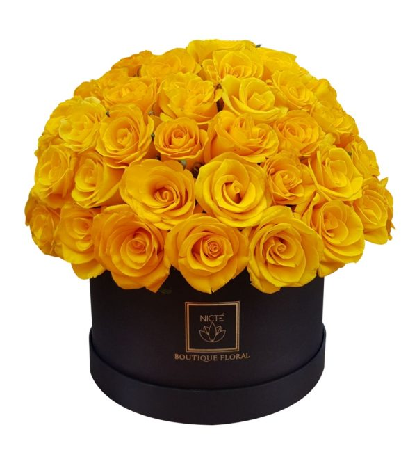 Caja de rosas amarillas luxury