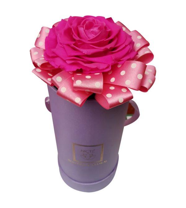 Caja de rosa rosada 1 pieza