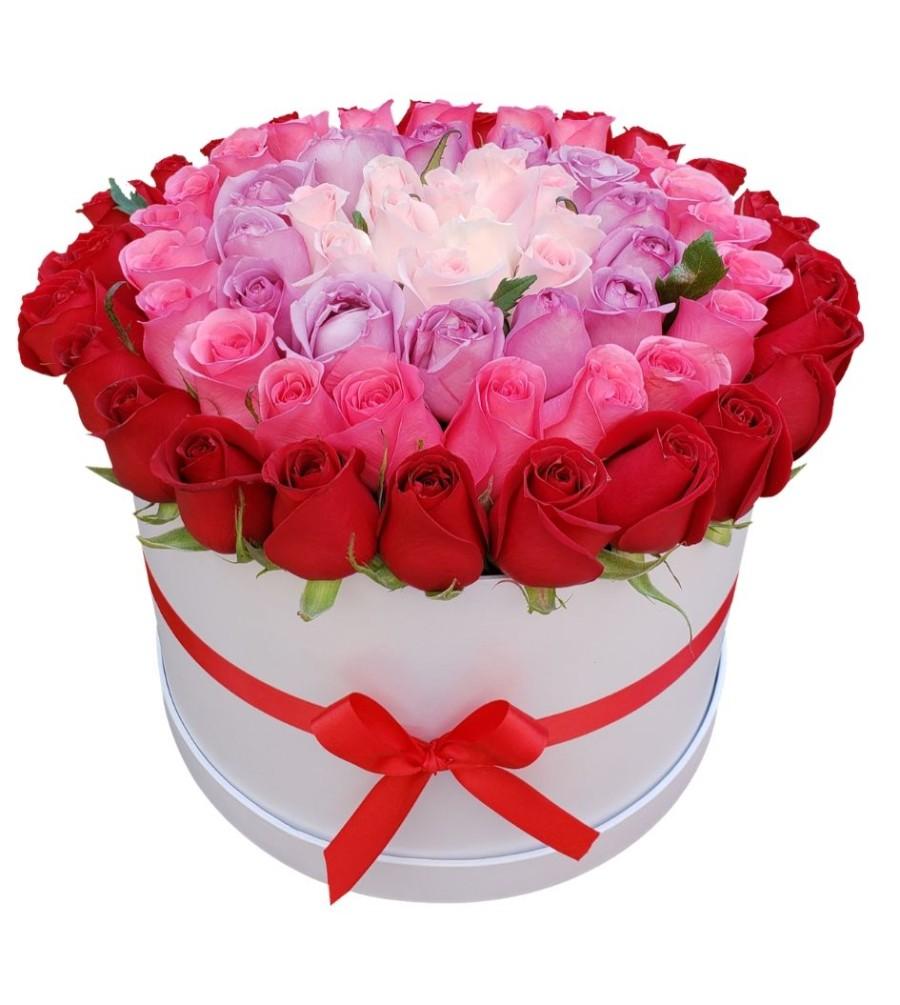 Caja de rosas rainbow